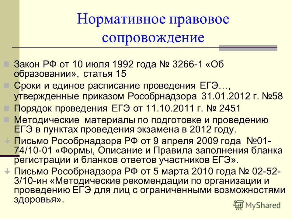 Нормативное правовое сопровождение Закон РФ от 10 июля 1992 года 3266-1 «Об образовании», статья 15 Сроки и единое расписание проведения ЕГЭ…, утвержденные приказом Рособрнадзора 31.01.2012 г. 58 Порядок проведения ЕГЭ от 11.10.2011 г. 2451 Методичес