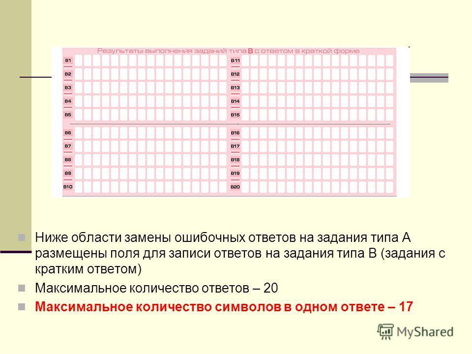 Ниже области замены ошибочных ответов на задания типа А размещены поля для записи ответов на задания типа В (задания с кратким ответом) Максимальное количество ответов – 20 Максимальное количество символов в одном ответе – 17