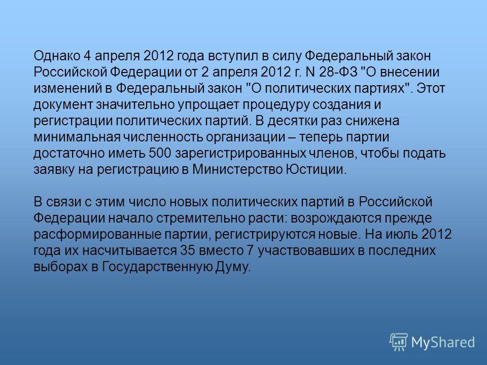 Однако 4 апреля 2012 года вступил в силу Федеральный закон Российской Федерации от 2 апреля 2012 г. N 28-ФЗ