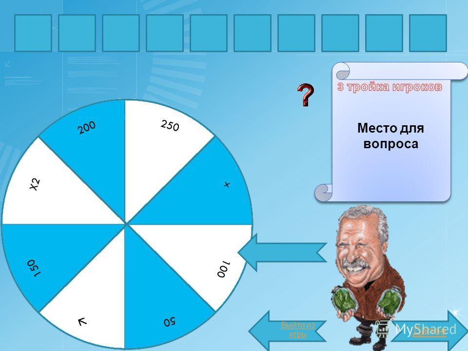 БУКВА Место для вопроса Далее слово X2 250 200 150 50 100 + Выйти из игры