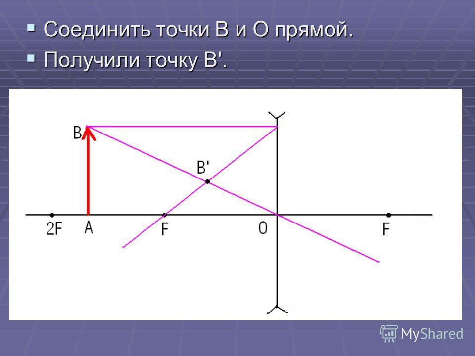 Соединить точки В и О прямой. Соединить точки В и О прямой. Получили точку В'. Получили точку В'.