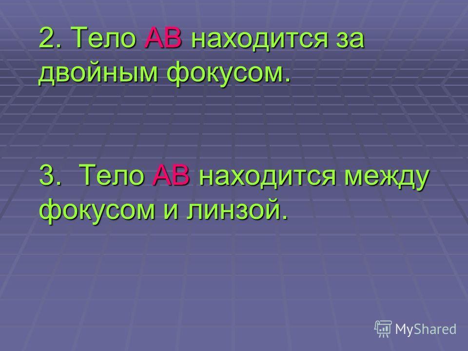 2. Тело АВ находится за двойным фокусом. 3. Тело АВ находится между фокусом и линзой.