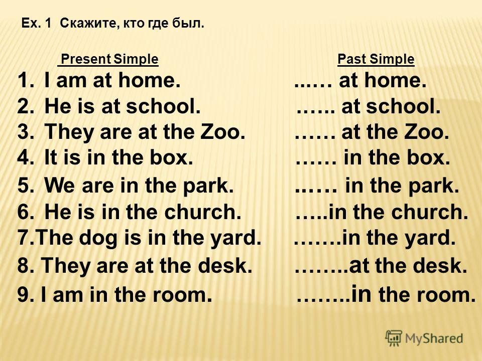 Ex. 1 Скажите, кто где был. Present Simple Past Simple 1.I am at home....… at home. 2.He is at school..….. at school. 3.They are at the Zoo. …… at the Zoo. 4.It is in the box. …… in the box. 5.We are in the park...…. in the park. 6.He is in the churc