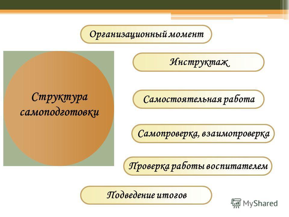 Структура самоподготовки Инструктаж Самостоятельная работа Организационный момент Самопроверка, взаимопроверка Проверка работы воспитателем Подведение итогов