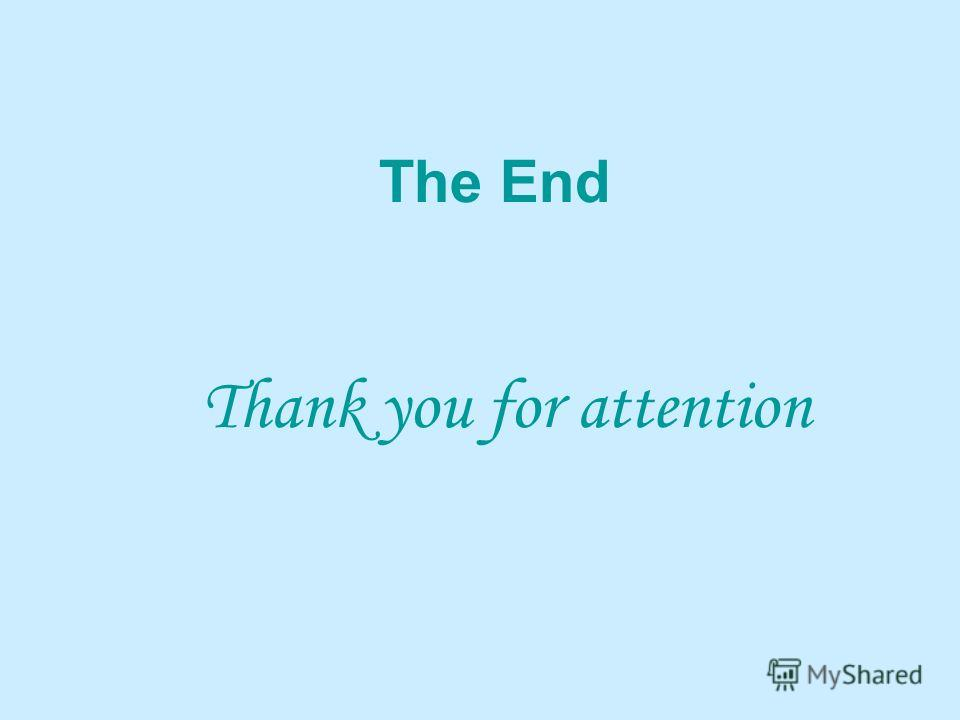 The End Thank you for attention