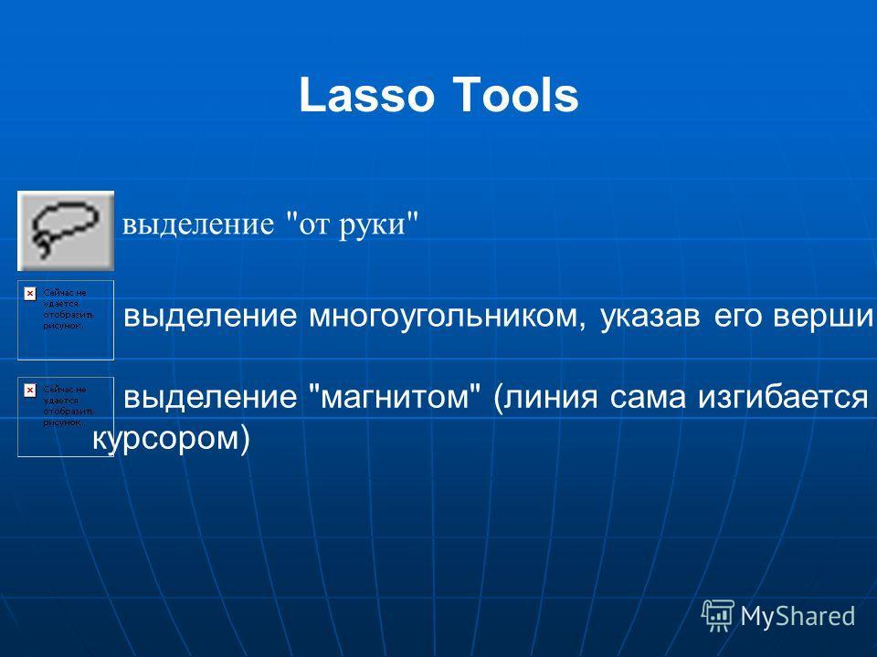 выделение магнитом (линия сама изгибается за курсором) выделение многоугольником, указав его вершины выделение от руки Lasso Tools