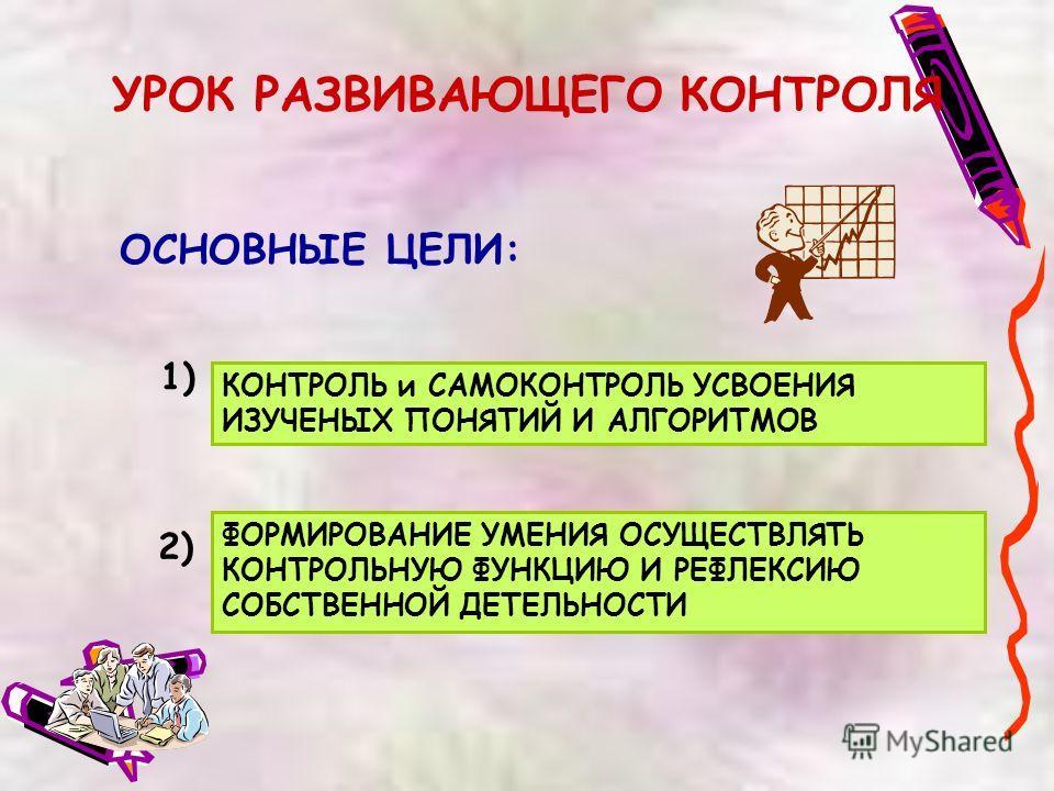 УРОК РАЗВИВАЮЩЕГО КОНТРОЛЯ ОСНОВНЫЕ ЦЕЛИ: ФОРМИРОВАНИЕ УМЕНИЯ ОСУЩЕСТВЛЯТЬ КОНТРОЛЬНУЮ ФУНКЦИЮ И РЕФЛЕКСИЮ СОБСТВЕННОЙ ДЕТЕЛЬНОСТИ 1) 2) КОНТРОЛЬ и САМОКОНТРОЛЬ УСВОЕНИЯ ИЗУЧЕНЫХ ПОНЯТИЙ И АЛГОРИТМОВ