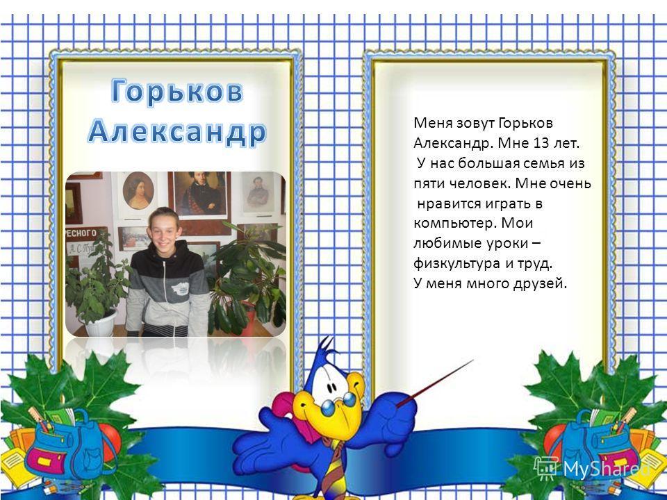 Меня зовут Горьков Александр. Мне 13 лет. У нас большая семья из пяти человек. Мне очень нравится играть в компьютер. Мои любимые уроки – физкультура и труд. У меня много друзей.