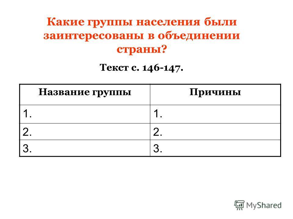 Какие группы населения были заинтересованы в объединении страны? Текст с. 146-147. Название группыПричины 1. 2. 3.