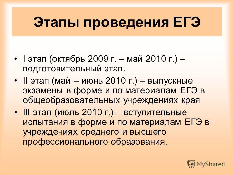 Этапы проведения ЕГЭ I этап (октябрь 2009 г. – май 2010 г.) – подготовительный этап. II этап (май – июнь 2010 г.) – выпускные экзамены в форме и по материалам ЕГЭ в общеобразовательных учреждениях края III этап (июль 2010 г.) – вступительные испытани