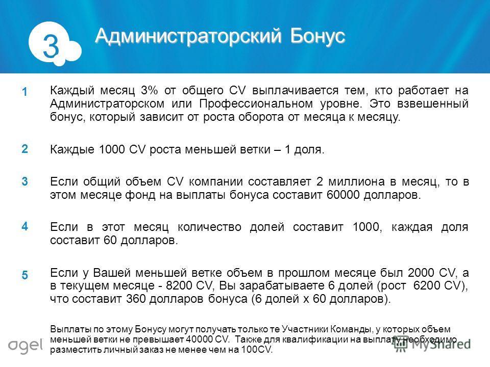 Каждый месяц 3% от общего CV выплачивается тем, кто работает на Администраторском или Профессиональном уровне. Это взвешенный бонус, который зависит от роста оборота от месяца к месяцу. Каждые 1000 CV роста меньшей ветки – 1 доля. Если общий объем CV