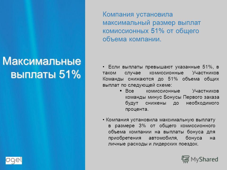 Максимальные выплаты 51% Компания установила максимальный размер выплат комиссионных 51% от общего объема компании. Если выплаты превышают указанные 51%, в таком случае комиссионные Участников Команды снижаются до 51% объема общих выплат по следующей