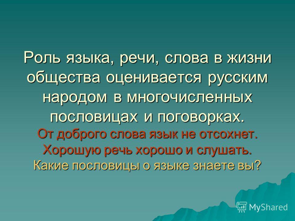 Роль языка, речи, слова в жизни общества оценивается русским народом в многочисленных пословицах и поговорках. От доброго слова язык не отсохнет. Хорошую речь хорошо и слушать. Какие пословицы о языке знаете вы?