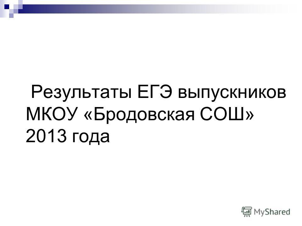 Результаты ЕГЭ выпускников МКОУ «Бродовская СОШ» 2013 года
