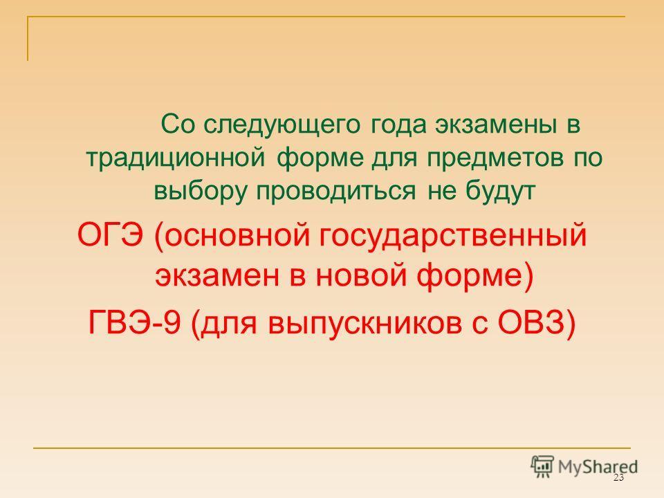 23 Со следующего года экзамены в традиционной форме для предметов по выбору проводиться не будут ОГЭ (основной государственный экзамен в новой форме) ГВЭ-9 (для выпускников с ОВЗ)