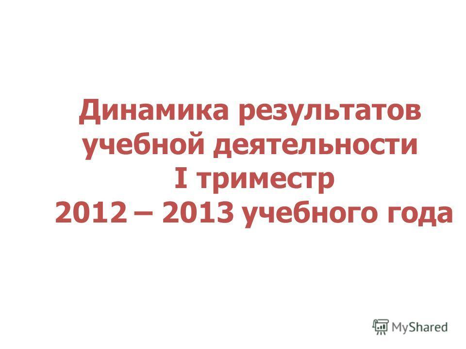 Динамика результатов учебной деятельности I триместр 2012 – 2013 учебного года