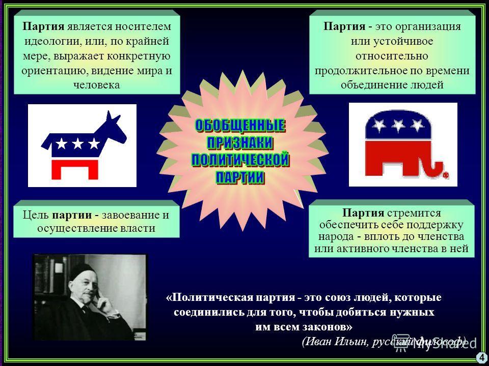 4 Партия является носителем идеологии, или, по крайней мере, выражает конкретную ориентацию, видение мира и человека Партия - это организация или устойчивое относительно продолжительное по времени объединение людей Цель партии - завоевание и осуществ