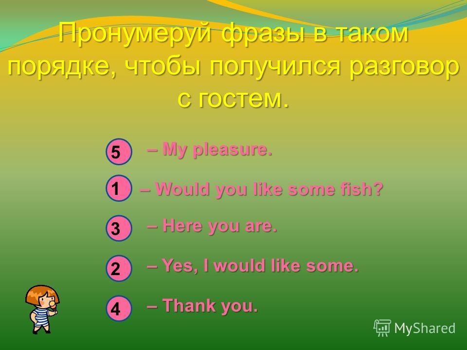 Пронумеруй фразы в таком порядке, чтобы получился разговор с гостем. – My pleasure. – Would you like some fish? – Here you are. – Yes, I would like some. – Thank you. 5 1 3 4 2