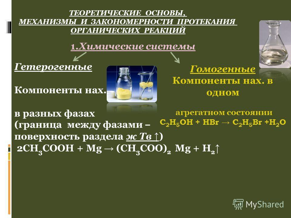 ТЕОРЕТИЧЕСКИЕ ОСНОВЫ, МЕХАНИЗМЫ И ЗАКОНОМЕРНОСТИ ПРОТЕКАНИЯ ОРГАНИЧЕСКИХ РЕАКЦИЙ Гетерогенные Компоненты нах. в разных фазах (граница между фазами – поверхность раздела ж Тв ) 2CH 3 COOH + Mg (CH 3 COO) 2 Mg + H 2 Гомогенные Компоненты нах. в одном а