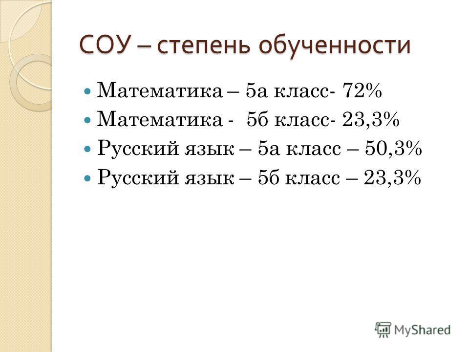 СОУ – степень обученности Математика – 5а класс- 72% Математика - 5б класс- 23,3% Русский язык – 5а класс – 50,3% Русский язык – 5б класс – 23,3%