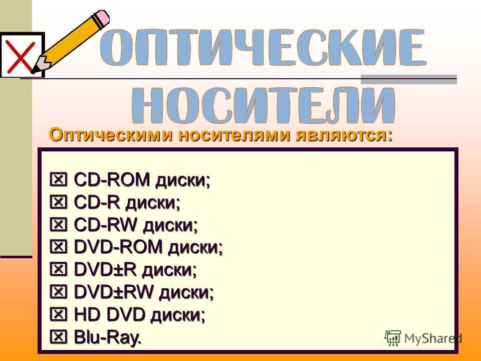Оптическими носителями являются: CD-ROM диски; CD-ROM диски; CD-R диски; CD-R диски; CD-RW диски; CD-RW диски; DVD-ROM диски; DVD-ROM диски; DVD±R диски; DVD±R диски; DVD±RW диски; DVD±RW диски; HD DVD диски; HD DVD диски; Blu-Ray. Blu-Ray.