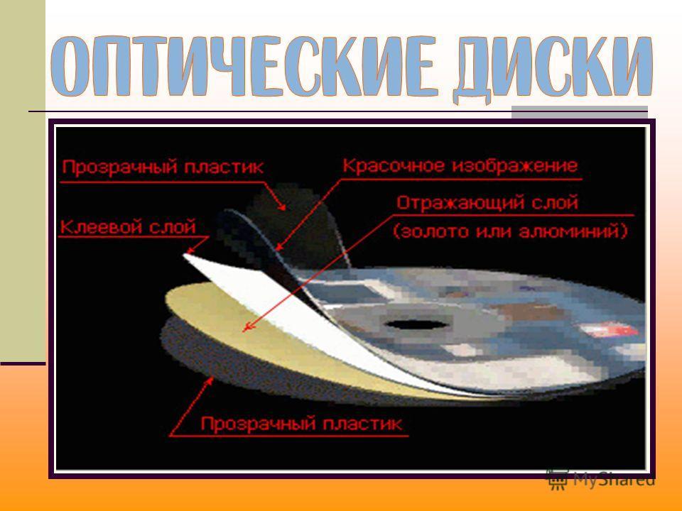 Оптические диски рассчитаны на использование лазерного луча для записи/считывания информации. CD-диски + инфракрасный лазер (длина волны 780 нм, емкость дисков 700 Мбайт); DVD-диски + красный лазер (длина волны 650 нм, емкость дисков до 17 Гбайт); HD