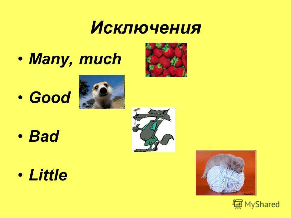 Исключения Many, much Good Bad Little