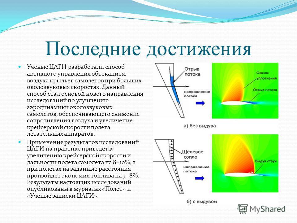 Последние достижения Ученые ЦАГИ разработали способ активного управления обтеканием воздуха крыльев самолетов при больших околозвуковых скоростях. Данный способ стал основой нового направления исследований по улучшению аэродинамики околозвуковых само