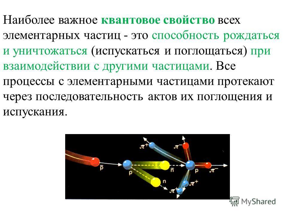 Наиболее важное квантовое свойство всех элементарных частиц - это способность рождаться и уничтожаться (испускаться и поглощаться) при взаимодействии с другими частицами. Все процессы с элементарными частицами протекают через последовательность актов