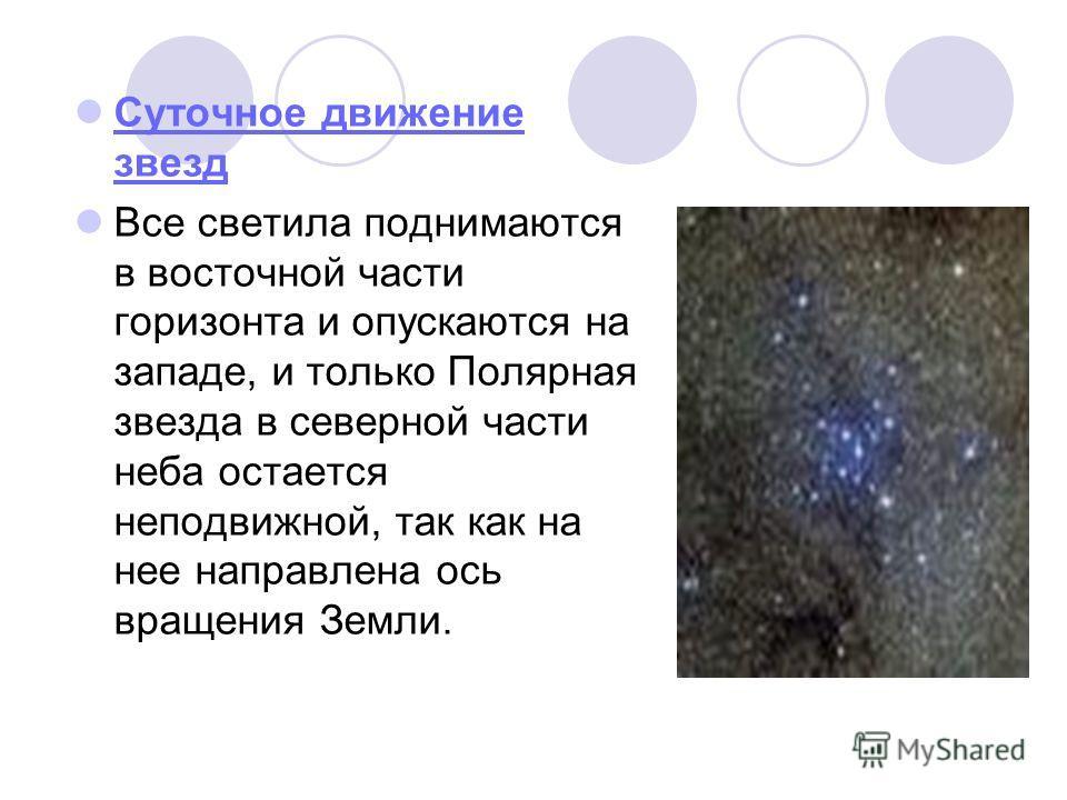 Суточное движение звезд Суточное движение звезд Все светила поднимаются в восточной части горизонта и опускаются на западе, и только Полярная звезда в северной части неба остается неподвижной, так как на нее направлена ось вращения Земли.