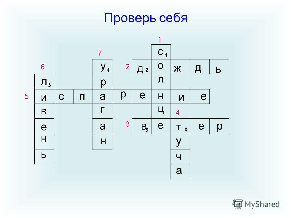 Проверь себя 1 42 3 5 6 с о л н ц е дж д ь и спа р е и е л в е н ь у р г а н в т ер у ч а 3 1 2 4 5 6 7