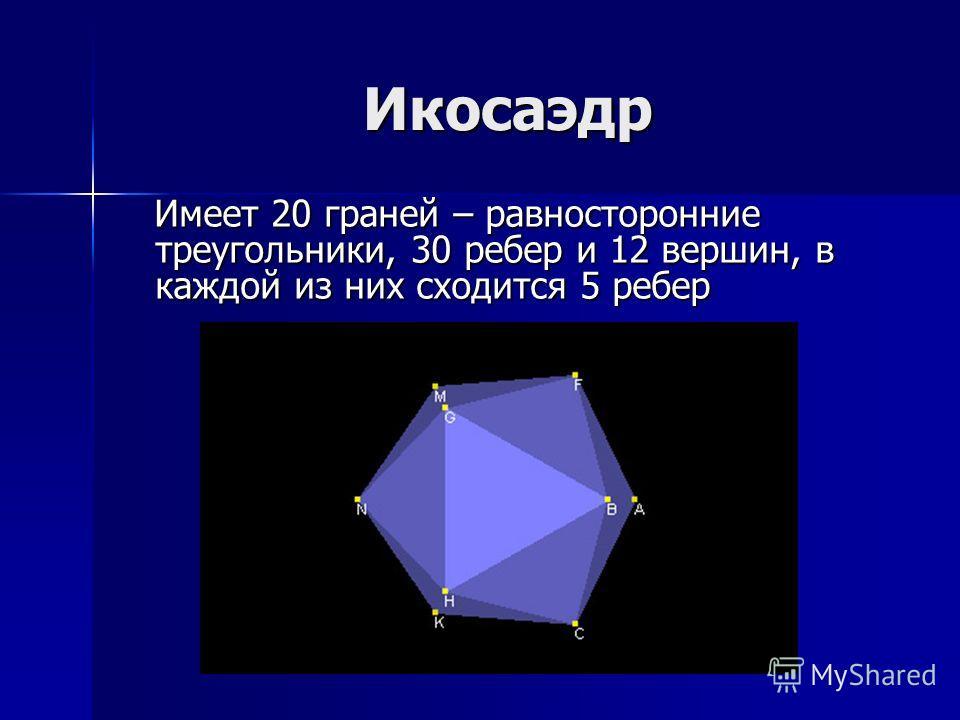 Икосаэдр Имеет 20 граней – равносторонние треугольники, 30 ребер и 12 вершин, в каждой из них сходится 5 ребер Имеет 20 граней – равносторонние треугольники, 30 ребер и 12 вершин, в каждой из них сходится 5 ребер