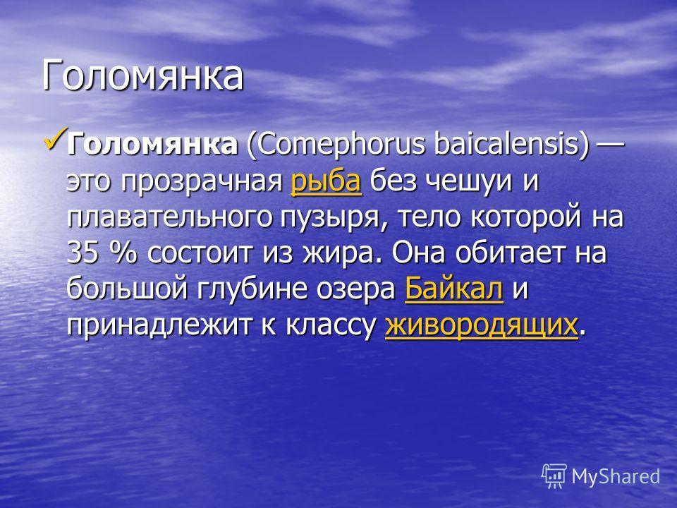 Голомянка Голомянка (Comephorus baicalensis) это прозрачная р р р р р ыыыы бббб аааа без чешуи и плавательного пузыря, тело которой на 35 % cocтоит из жира. Она обитает на большой глубине озера Б Б Б Б Б аааа йййй кккк аааа лллл и принадлежит к класс