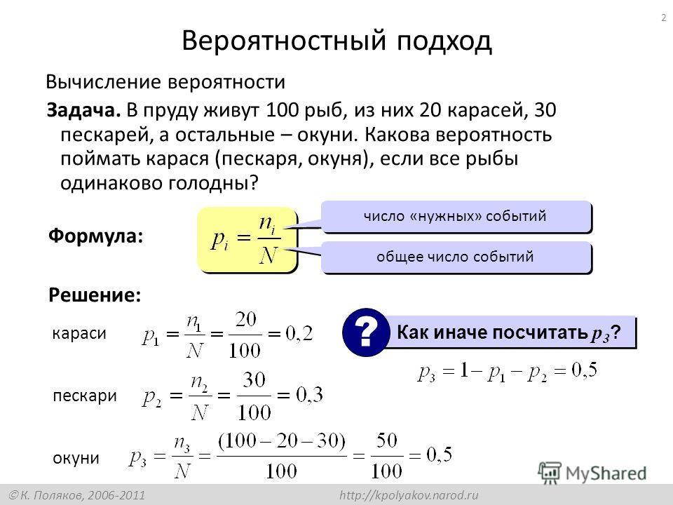 К. Поляков, 2006-2011 http://kpolyakov.narod.ru 2 Вероятностный подход Вычисление вероятности Задача. В пруду живут 100 рыб, из них 20 карасей, 30 пескарей, а остальные – окуни. Какова вероятность поймать карася (пескаря, окуня), если все рыбы одинак