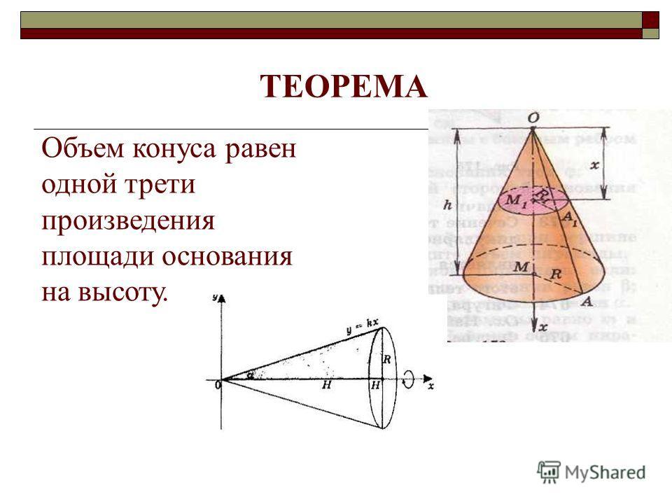 ТЕОРЕМА Объем конуса равен одной трети произведения площади основания на высоту.