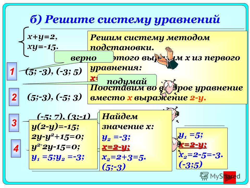 б) Решите систему уравнений у 1 =5;x=2-y; x 2 =2-5=-3. (-3;5) Решим систему методом подстановки. Для этого выразим x из первого уравнения: x=2-y. Подставим во второе уравнение вместо x выражение 2-y. (5;-3), (-5; 3) (-5; 7), (5; -7) 1 верно 2 (5; -3)