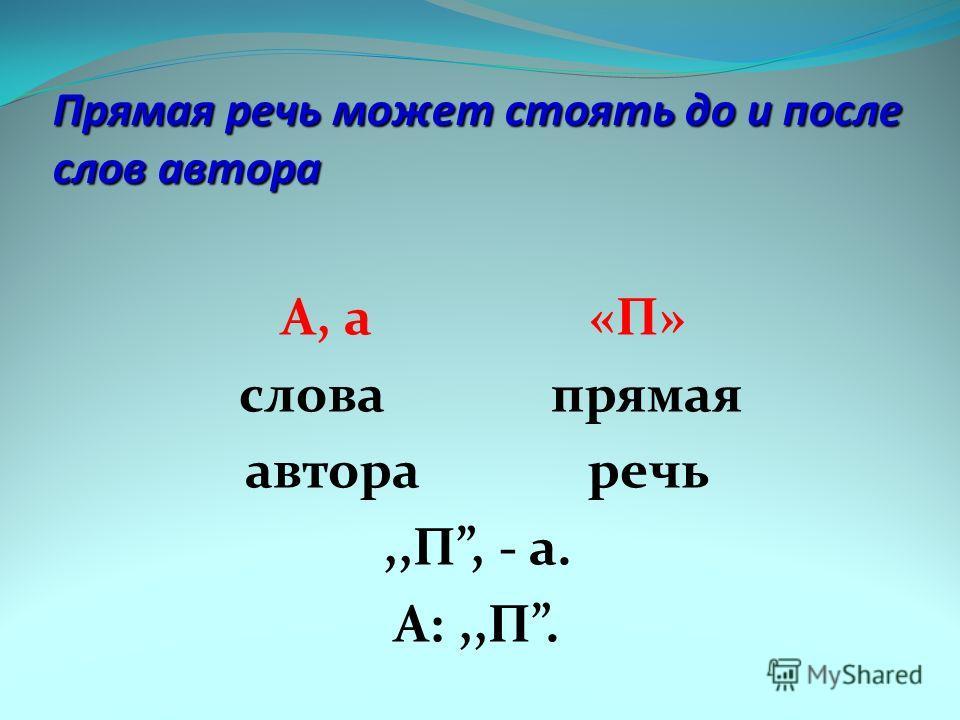 Прямая речь может стоять до и после слов автора А, а «П» слова прямая автора речь,,П, - а. А:,,П.