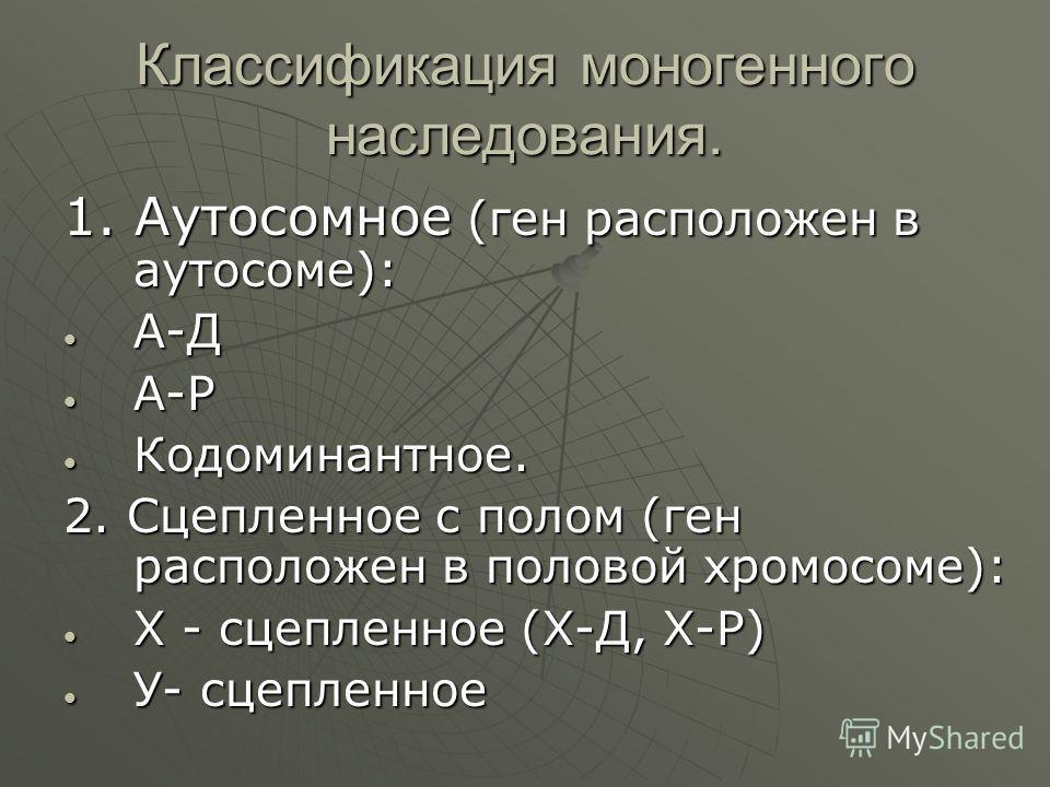 Классификация моногенного наследования. 1. Аутосомное (ген расположен в аутосоме): А-Д А-Д А-Р А-Р Кодоминантное. Кодоминантное. 2. Сцепленное с полом (ген расположен в половой хромосоме): Х - сцепленное (Х-Д, Х-Р) Х - сцепленное (Х-Д, Х-Р) У- сцепле