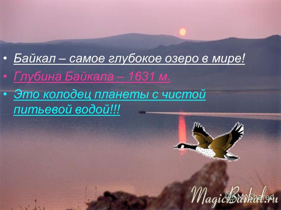 Байкал – самое глубокое озеро в мире! Глубина Байкала – 1631 м. Это колодец планеты с чистой питьевой водой!!!