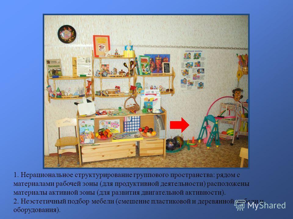 1. Нерациональное структурирование группового пространства: рядом с материалами рабочей зоны (для продуктивной деятельности) расположены материалы активной зоны (для развития двигательной активности). 2. Неэстетичный подбор мебели (смешение пластиков
