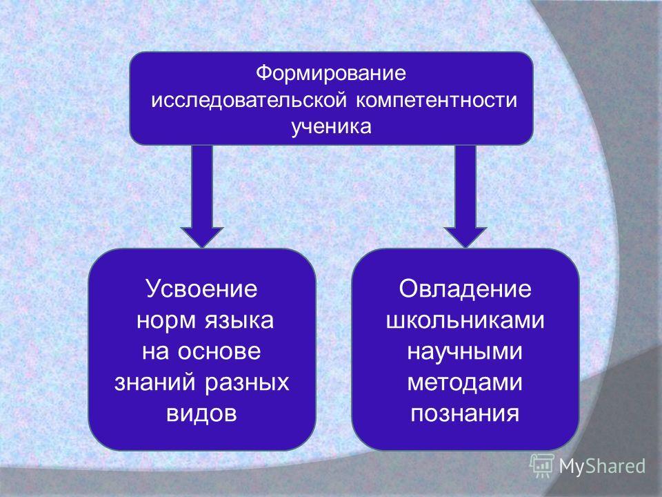 Формирование исследовательской компетентности ученика Усвоение норм языка на основе знаний разных видов Овладение школьниками научными методами познания