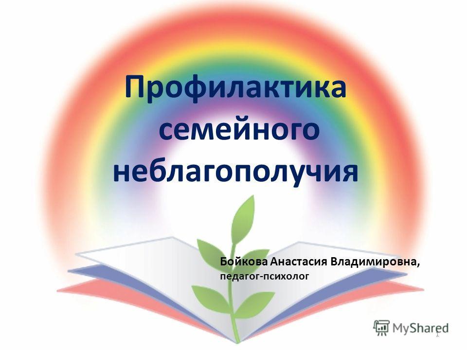 Профилактика семейного неблагополучия 1 Бойкова Анастасия Владимировна, педагог-психолог