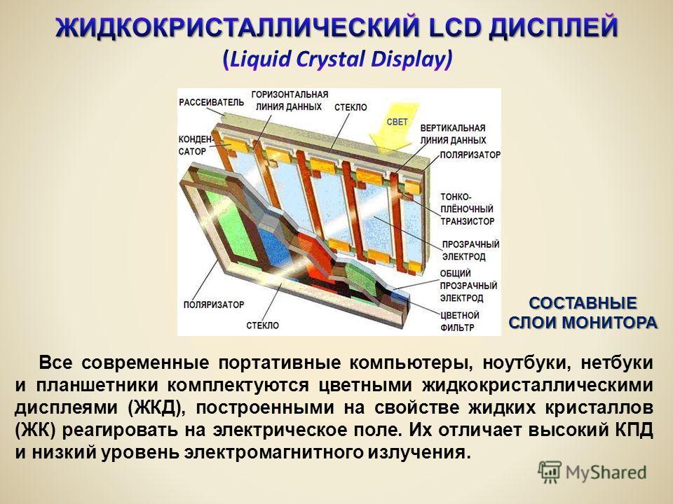 Все современные портативные компьютеры, ноутбуки, нетбуки и планшетники комплектуются цветными жидкокристаллическими дисплеями (ЖКД), построенными на свойстве жидких кристаллов (ЖК) реагировать на электрическое поле. Их отличает высокий КПД и низкий