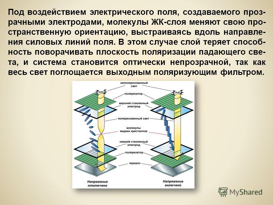 Под воздействием электрического поля, создаваемого проз- рачными электродами, молекулы ЖК-слоя меняют свою про- странственную ориентацию, выстраиваясь вдоль направле- ния силовых линий поля. В этом случае слой теряет способ- ность поворачивать плоско