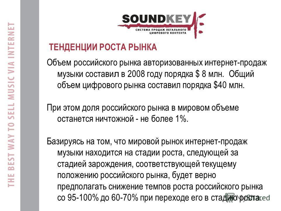 ТЕНДЕНЦИИ РОСТА РЫНКА Объем российского рынка авторизованных интернет-продаж музыки состави л в 2008 году порядка $ 8 млн. Общий объем цифрового рынка составил порядка $40 млн. При этом доля российского рынка в мировом объеме останется ничтожной - не