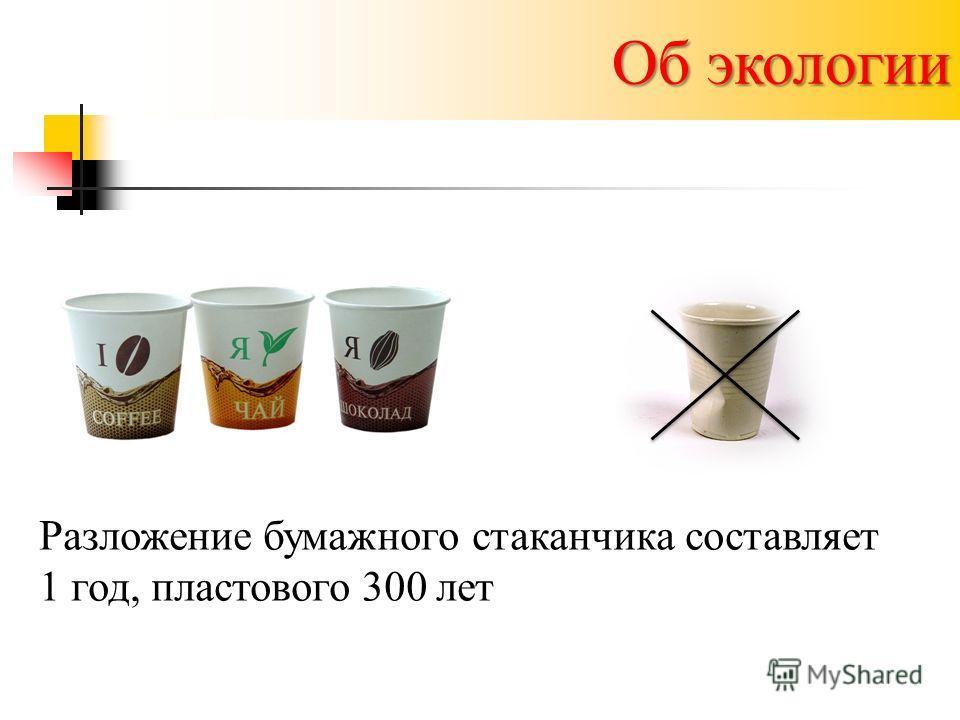 Об экологии Разложение бумажного стаканчика составляет 1 год, пластового 300 лет