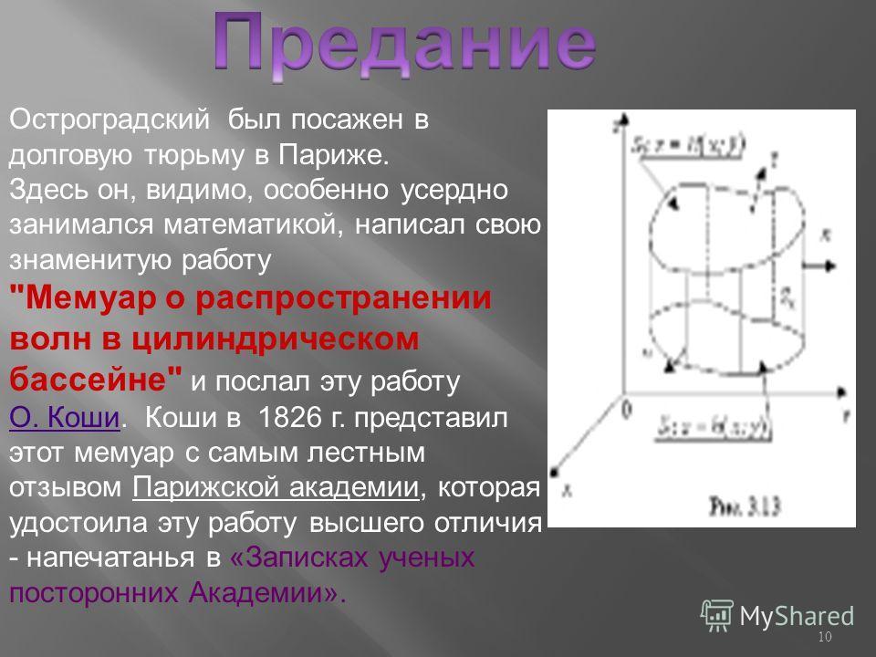 Остроградский был посажен в долговую тюрьму в Париже. Здесь он, видимо, особенно усердно занимался математикой, написал свою знаменитую работу