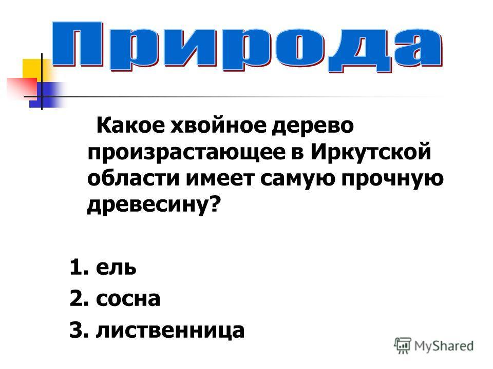 Какое хвойное дерево произрастающее в Иркутской области имеет самую прочную древесину? 1. ель 2. сосна 3. лиственница