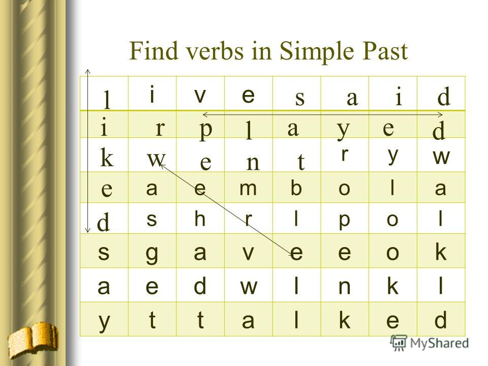 ive ry w aembola shrlpol sgaveeok aedwlnkl yttalked Find verbs in Simple Past said r w ent l i k e d p l aye d