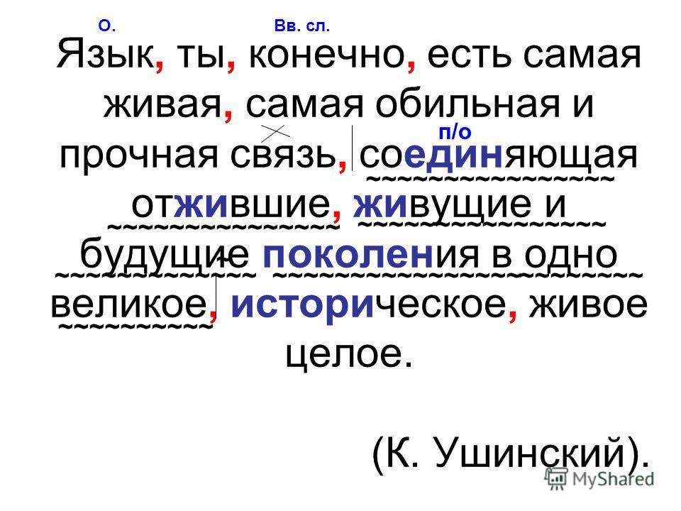Язык, ты, конечно, есть самая живая, самая обильная и прочная связь, соединяющая отжившие, живущие и будущие поколения в одно великое, историческое, живое целое. (К. Ушинский). О.Вв. сл. п/о ~~~~~~~~~~~~~~~~ ~~~~~~~~~~ ~~~~~~~~~~~~~~~~~~~~~~~~~~~~~~~